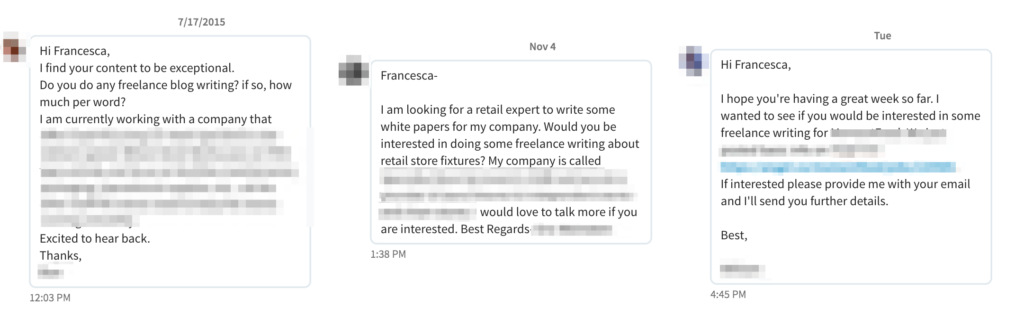 how to build a lance writing portfolio from scratch be a below are a few examples of messages that i ve received from people who saw my content on linkedin and inquired about my services some parts were blurred